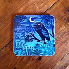 Hard-wearing melamine #coaster featuring a beautiful #owl #design by #British #artist Jenny Tylden-Wright.  #countryside #wildife #moonlight #nocturnal #animals #trees #forest #birds