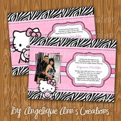 Zebra Print and Hello Kitty Baby Shower Invitations DIY Printable. $13.99, via Etsy.