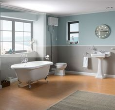 Rochester High Level Toilet & 1 Tap Hole Basin Suite With Westbury Freestanding Bath  £525.00