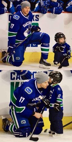 Ryan Kesler & son. Too freakin' adorable! I don't like him but this is the cutest pic ever!!!