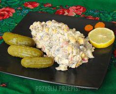 Sałatka pieczarkowo - serowa Grilling, Salads, Food And Drink, Meat, Chicken, Vegetables, Recipes, Impreza, Party