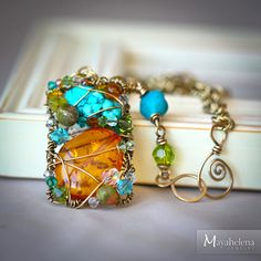 Amber and Turquoise Free Form Rectangle Chain Maille by Mayahelena