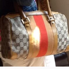 Authentic Gucci handbag Soft fabric outside, inside leather was took away. Medium size and authentic, I showed the receipt of this bag in the second pic. The zipper can still be used. But u can replace it if u don't like. This bag has been used a lot, not in perfect condition. If u want buy a like new handbag, then choose another one. Gucci Bags