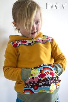liiviundliivi: Lässige Kindermode reloaded Schnitte: Kapuziert 2.0 by Leni pepunkt Lässig 2.0 by Leni pepunkt Stoffe: Curry Sweat und türkiser Jersey vom Stoffmarkt 'Sweat Days' von Lillestoff