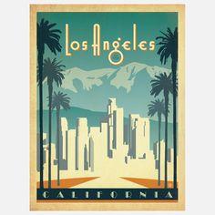 artists, california, art prints, lost angel, los angeles, angel print, travel posters, angel skylin, anderson design