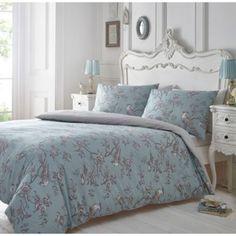 Debenhams Blue and grey printed 'Curious Bird' bedding set- at Debenhams.com