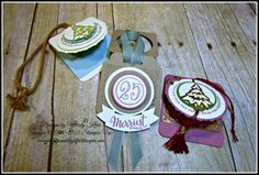"""Stampin' Up! Merriest Wishes, Cheerful Tags Thinlits Dies, Merry Tag Framelits Dies, Layering Circles framelits, 3/4"""" circle punch, 1-1/4"""" circle punch, 1-3/8"""" punch, 1-1/2"""" punch, Duet Banner Punch, Kraft Rope Trim, Mint Macaron 5/8"""" sheer ribbon, Cherry Cobbler baker's twine (holiday), Gold Foil, Enamel Dots, Rhinestones,  -  designed by Wendy Klein for Doggone Delightful Stampin'"""