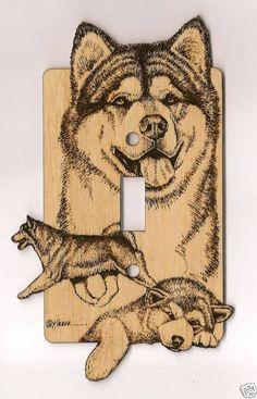 Malamute Laser Engraved Dog Switch Plates | eBay