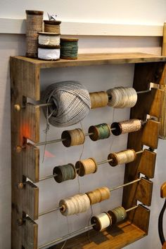 With Hook and Needle Craft Room Storage, Craft Organization, Garage Storage, Wood Projects, Woodworking Projects, Woodworking Shop, Leather Workshop, Hobby Room, Sewing Rooms