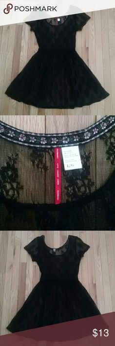 """Element Brocade Lace Fit and Flare Slip Dress L Sheer black lace fit and flare slip dress. Lying flat bust measures 18"""", elastic waist 13"""", length 37"""". One small hole in back on the skirt part (shown in last photo) otherwise in very gently used condition. Comes from a smoke-free, pet-free home. Element Dresses"""