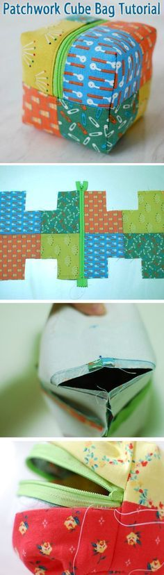 Little boxy pouch tutorial. Patchwork Cube Bag ~ How to sew free tutorial for beginners. Ideas for sewing projects.Little boxy pouch tutorial. Patchwork Cube Bag - make w/o zipper for a cute set of fabric baby block toysDiscover recipes, home ideas, style Sewing Hacks, Sewing Tutorials, Sewing Crafts, Sewing Projects, Sewing Patterns, Purse Patterns, Tutorial Sewing, Patchwork Patterns, Patchwork Bags