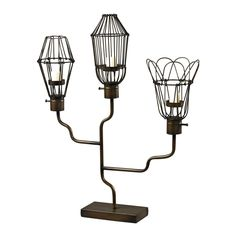 Iron Caged Bulb Candle Holder 51-10083