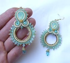 Mint Earrings Mint Gold Dangle Embroidered by RedTulipDesign Mint Earrings, Gold Bridal Earrings, Soutache Earrings, Beaded Jewelry, Beaded Necklace, Jewellery, Shibori, Mint Gold, Hand Chain