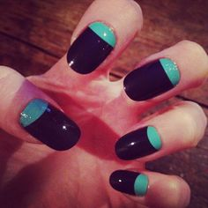 Nails with turquoise bed.