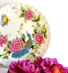 I love this!  So pretty!  Vintage Decorative Mexican Platter Pink Peonies by Digvintageshop