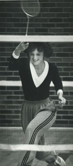 1981: Jane Guzar playing a quick game of Badminton. #Mohawk50