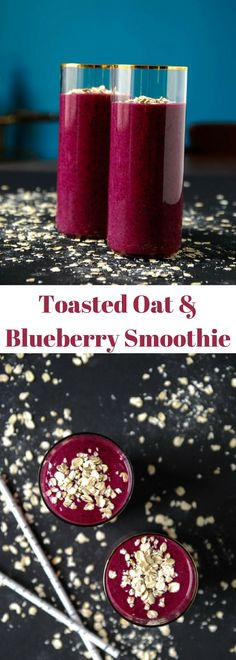 Toasted oats and blueberries come together to create the perfect smoothie addition to your weekend breakfast rotation! Juice Smoothie, Smoothie Drinks, Fruit Smoothies, Healthy Smoothies, Smoothie Recipes, Fruit Juice, Smoothie Bowl, Drink Recipes, Healthy Vegan Breakfast