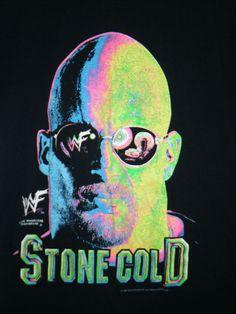 vintage 1999 Stone Cold Steve Austin T-shirt LARGE glows under blacklight neon #WWF #WWE #StoneCold