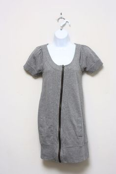 Kensie Girl Gray French Terry Sweatshirt Dress Zip Front Pockets Cotton Size S #Kensie #CasualDress #Casual