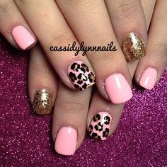 Pink with gold cheetah and glitter accent nails
