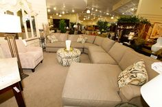 Large Beige Sofa Sectional with Paisley Pillows - Colleen's Classic Consignment, NV - www.colleenconsign.com