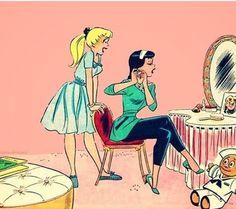 (Archie) Betty Cooper and Veronica Lodge Archie Comics Riverdale, Vintage Comics, Vintage Art, Archie Betty And Veronica, Betty And Veronica Costumes, Archie Comics Betty, Dan Decarlo, Comic Art, Anos 80
