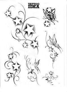 Bildergebnis für tattoo sterne mit buchstaben vorlagen