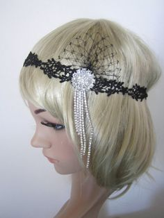 Black lace 1920s inspired Art Deco  flapper by PeacockandLotus, $35.00