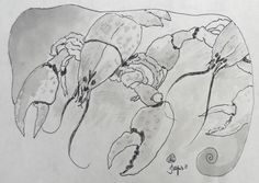 """Jacques Pepin, Lobsters, ink on paper, art size: 9x6"""", 2011, $475. framed"""