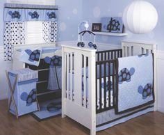 Decorating baby nursery especially in blue color is one of most exciting moment for the most parents in the world. Blue color for baby nursery usually Baby Boy Rooms, Baby Boy Nurseries, Baby Cribs, Baby Room, Purple Gray Bedroom, Purple Bedrooms, Baby Crib Bedding Sets, Crib Sets, Nursery Bedding