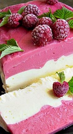 Raspberry Summer Sensation Dessert - a frozen dessert that's as beautiful to look at as it is delicious. Amazingly easy to make as well! ✯