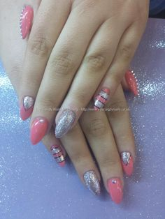 Ocean coral gel with silver glitter nail art