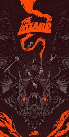 The Wizard - Black Sabbath by Gabriel Silveira on Behance Music Artwork, Metal Artwork, Festival Metal, Rock Band Posters, Heavy Metal Art, Black Metal, Stoner Rock, Psy Art, Metal Albums