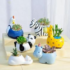 We can't bring wild animals into our home but we have an adorable replacement for you, our Wild Animal Planters! They're perfect for your small succulents and cacti 🌵. Collect all of them! Clay Projects, Clay Crafts, Wild Animals Drawing, Wild Animals Photography, Wild Animals Pictures, Pet Chickens, Succulent Terrarium, Terrarium Ideas, Safari Animals