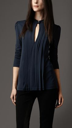Burberry London Pleated Keyhole Blouse