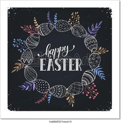Decorative doodle frame from eggs and branch elements. Free art print of Happy Easter card. Chalkboard Pictures, Chalkboard Art Quotes, Chalkboard Drawings, Chalkboard Designs, Summer Chalkboard Art, Easter Art, Easter Emoji, Window Art, Window Ideas