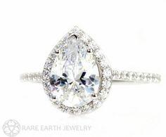 Moissanite Engagement Ring Diamond Halo Custom Pear by RareEarth