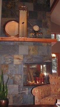 Three Sided Fireplace Design.  Not sure like this.