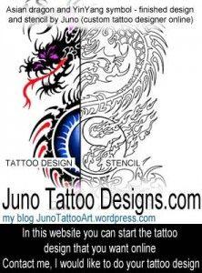 Asian-Dragon-yin-yang-tattoo-stencil-by-JunoTattooDesigns