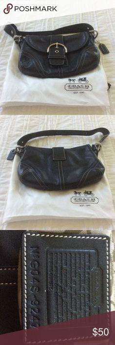 Coach Black Signature Leather Soho Bag 100% Authentic Coach Signature Black Soho leather bag with silver buckle snap closure. It features one zip pocket and two slip pockets. Creed patch #G04S-9247. Excellent brand new condition. Coach Bags Shoulder Bags