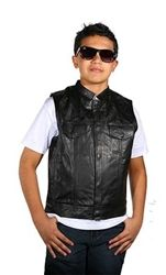 Boys SOA anarchy style leather motorcycle vest for kids! #bikers #soa #leather