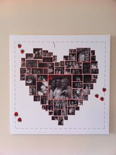 A Canvas print with a heart collage gets many pictures into one frame ... gorgeous way to show off lots of pictures