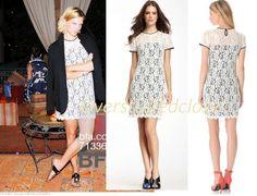 NWT $326 Diane von Furstenberg DVF Barbie Stretch Lace Overlay Shift Dress