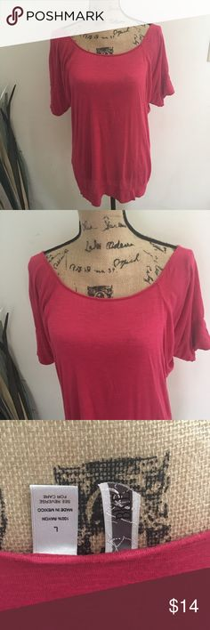 BKE raspberry open neck tunic Pretty soft rayon tunic top from BKE. Raspberry color (color may vary based on lighting and screen viewed!) wide open neckline-pretty with bralette or cami straps showing. Loose band around the bottom. Washed and hung to dry. Sz large measurements upon request. 💥Flaw-small hole at neckline in the back. See picture. A quick couple stitches would fix or longish hair would cover it💥 BKE Tops