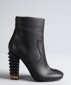 Fendi -  black leather studded heel side zip ankle boots