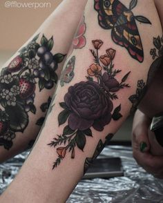 Dark Botanical Tattoos with Roses and Strawberries                                                                                                                                                                                 More