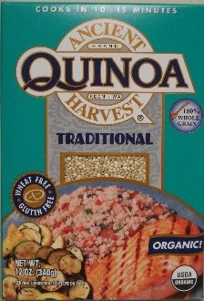 Case (12/12oz boxes) of Ancient Harvest Brand Traditional Organic Quinoa.    Quick and easy to prepare, Quinoa is perfect for your active lifestyle! Ancient in its origins, Quinoa has been the staple food of millions for almost 5,000 years! Quinoa is 50% higher in fiber than wheat and has the highest protein content of any of the world's grains! Not only does it contain the most protein, but protein of the highest quality. Quinoa is considered to be a complete protein in that it provides…