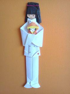 Marcador de páginas em origami - Pediatra