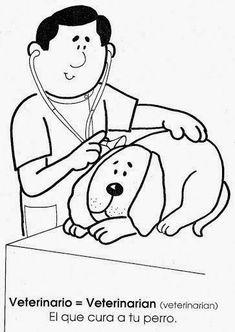 Maestra de Primaria: La profesiones en inglés y en español. Dibujos para colorear.