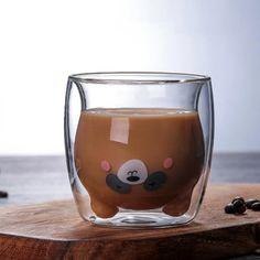 Creative Transparent Double Walls Glass Cartoon Bear Cat Duck Coffee Mug Milk Juice Cute Cup Send Girlfriend Gift Cat Paw Cup Cappuccino Cups, Birthday Mug, Cute Cups, Bear Cartoon, Cat Paws, Cute Bears, Kakao, Funny Mugs, Cleanser